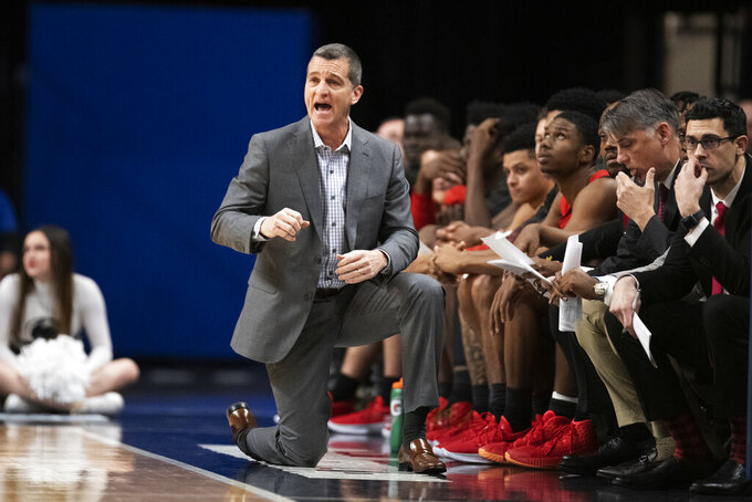 Maryland head coach Mark Turgeon reacts to a call in the first half of an NCAA college basketball game against Penn State in State College, Pa., on Tuesday, Dec. 10, 2019. (AP Photo/Barry Reeger)