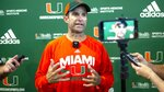 University of Miami football coach Manny Diaz speaks to the media after morning practice before Saturday night's ACC opener at North Carolina, at the Carol Soffer Indoor Practice Facility in Coral Gables, Florida on Wednesday, September 4, 2019.(Daniel A. Varela/Miami Herald via AP)