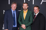 FILE - In this Oct. 4, 2018 file photo, Rick Armstrong, left, Ryan Gosling and Mark Armstrong attend the