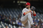 St. Louis Cardinals' Jon Lester pitches during the first inning of a baseball game against the Milwaukee Brewers, Monday, Sept. 20, 2021, in Milwaukee. (AP Photo/Aaron Gash)