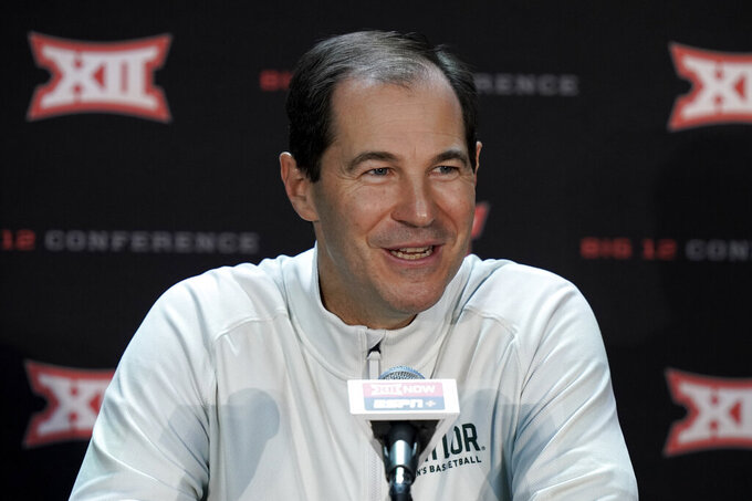 Baylor coach Scott Drew speaks to the media during Big 12 NCAA college basketball media day Wednesday, Oct. 20, 2021, in Kansas City, Mo. (AP Photo/Charlie Riedel)