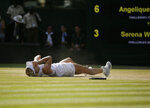 Germany's Angelique Kerber celebrates winning the women's singles final match against Serena Williams of the United States, at the Wimbledon Tennis Championships, in London, Saturday July 14, 2018.(AP Photo/Tim Ireland)