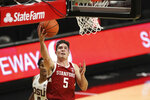 Stanford's Michael O'Connell (5) drives in to the basket during the first half of an NCAA college basketball game against Oregon State in Corvallis, Ore., Monday, Jan. 4, 2021. (AP Photo/Amanda Loman)