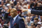 Florida State coach Leonard Hamilton gestures during the first half of the team's NCAA college basketball game against Virginia in Tallahassee, Fla., Wednesday, Jan. 15, 2020. (AP Photo/Mark Wallheiser)