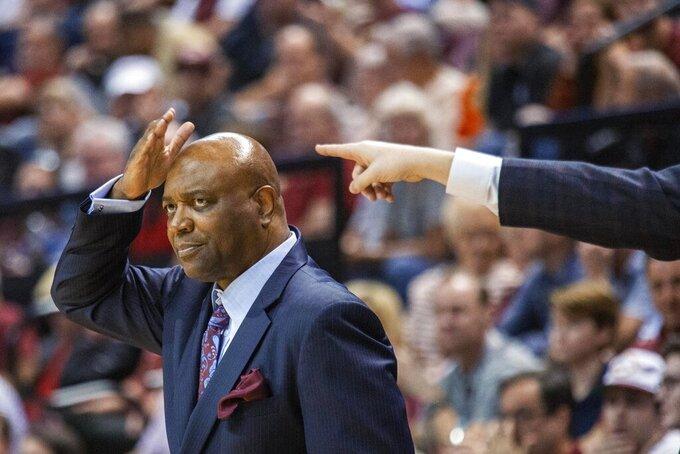 Florida State coach Leonard Hamilton gestures during the first half of the team's NCAA college basketball game against Virginia in Tallahassee, Fla., Wednesday, Jan. 15, 2020. (AP Photo/Mark Wallheiser)