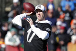 AFC quarterback Ryan Tannehill of the Tennessee Titans throws a pass during a practice for NFL Pro Bowl football game Wednesday, Jan. 22, 2020, in Kissimmee, Fla. (AP Photo/John Raoux)