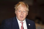 Britain's Prime Minister Boris Johnson at the UK Africa Investment Summit in London, Monday Jan. 20, 2020. Boris Johnson is hosting 54 African heads of state or government in London. The move comes as the U.K. prepares for post-Brexit dealings with the world. (Leon Neal/Pool via AP)
