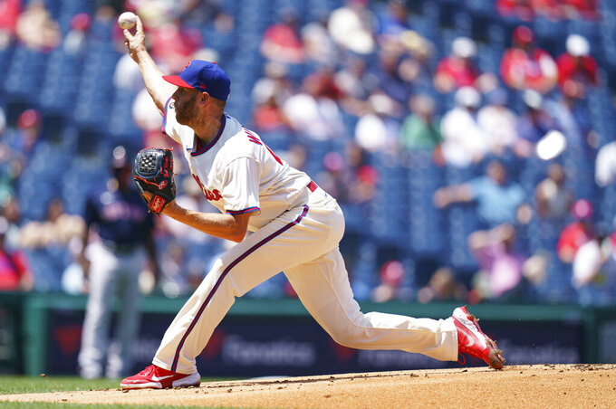 Philadelphia Phillies starting pitcher Zack Wheeler throws during the first inning of a baseball game against the Boston Red Sox, Sunday, May 23, 2021, in Philadelphia. (AP Photo/Chris Szagola)