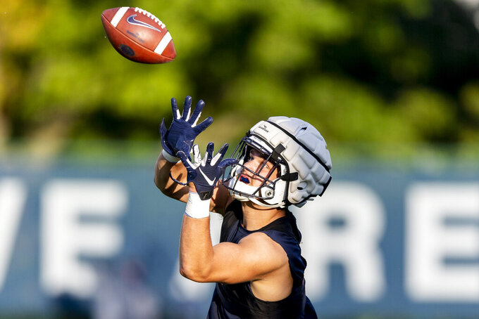 Penn State tight end Pat Freiermuth hauls in a pass during NCAA college football practice, Wednesday, Aug. 28, 2019 in State College, Pa. (Joe Hermitt/The Patriot-News via AP)