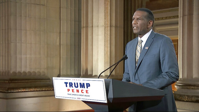 In this image from video, congressional candidate and former NFL player Burgess Owens speaks from Washington, during the third night of the Republican National Convention on Wednesday, Aug. 26, 2020. (Courtesy of the Committee on Arrangements for the 2020 Republican National Committee via AP)