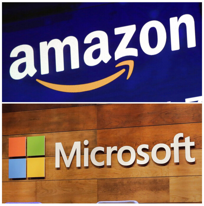 "FILE - This combination of file photos shows the logos for Amazon, top, and Microsoft. . Amazon is protesting the Pentagon's decision to award a huge cloud-computing contract to Microsoft, citing ""unmistakable bias"" in the decision. Amazon's competitive bid for the ""war cloud"" drew criticism from President Donald Trump and its business rivals. (AP Photo/Richard Drew and Ted S. Warren, File)"