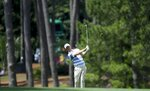 Justin Harding hits on the 17th hole during the first round for the Masters golf tournament Thursday, April 11, 2019, in Augusta, Ga. (AP Photo/David J. Phillip)