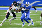 Detroit Lions running back Adrian Peterson (28) runs against the Chicago Bears in the second half of an NFL football game in Detroit, Sunday, Sept. 13, 2020. (AP Photo/Duane Burleson)