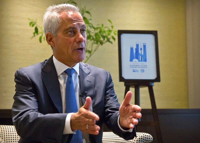 Chicago Mayor Rahm Emanuel speaks during an interview with the Associated Press in Beijing, Thursday, July 12, 2018. Emanuel, on a mission to salvage business deals threatened by a tariff war, says Chinese officials expressed confidence during his visit to Beijing that they can survive the spiraling dispute with Washington. (AP Photo/Mark Schiefelbein)
