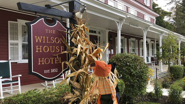 A sign marks the Wilson House Hotel on Tuesday, Sept. 29, 2020, in East Dorset, Vt. The shrine-like house, birthplace of Alcoholics Anonymous co-founder Bill Wilson, is in danger of closing as the non-profit organization that runs it faces a budget shortfall due to restrictions made necessary by the coronavirus pandemic. (AP Photo/Wilson Ring)