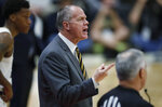 Colorado head coach Tad Boyle directs his team against UCLA in the first half of an NCAA college basketball game Saturday, Feb. 22, 2020, in Boulder, Colo. (AP Photo/David Zalubowski)