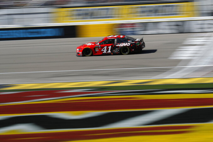 Daniel Suarez drives during a NASCAR Cup Series auto race at the Las Vegas Motor Speedway, Sunday, March 3, 2019, in Las Vegas. (AP Photo/John Locher)
