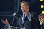 NFL Commissioner Roger Goodell talks to the crowd at the start of the NFL football draft Thursday, April 29, 2021, in Cleveland. (AP Photo/Tony Dejak)