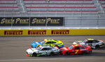 Chase Briscoe is bumped by Justin Allgaier during the NASCAR Xfinity Series auto race at Las Vegas Motor Speedway on Saturday, Sept. 26, 2020, in Las Vegas. Briscoe went on to win the race, while Allgaier took third. (Ellen Schmidt/Las Vegas Review-Journal via AP)