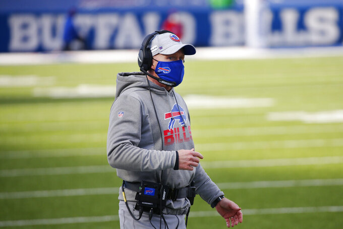 Buffalo Bills head coach Sean McDermott reacts to a call during the first half of an NFL wild-card playoff football game against the Indianapolis Colts, Saturday, Jan. 9, 2021, in Orchard Park, N.Y. (AP Photo/Jeffrey T. Barnes)
