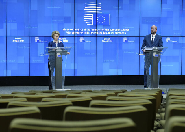 European Council President Charles Michel, right, and European Commission President Ursula von der Leyen participate in a media conference after a video conference with EU leaders in EU summit format at the European Council building in Brussels, Thursday, April 23, 2020. European Union leaders agreed Thursday to revamp the EU's long-term budget and set up a massive recovery fund to tackle the impact of the coronavirus and help rebuild the 27-nation bloc's ravaged economies but deep differences remain over the best way to achieve those goals. (Olivier Hoslet, Pool Photo via AP)