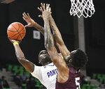 Prairie View A&M forward Devonte Patterson (5) shoots over Texas Southern center Trayvon Reed (5) during the first half of the SWAC championship NCAA college basketball game Saturday, March 16, 2019, in Birmingham, Ala. (AP Photo/Julie Bennett)