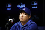 Los Angeles Dodgers starting pitcher Hyun-Jin Ryu speaks during a news conference before Game 2 of the baseball team's National League Division Series against the Washington Nationals on Friday, Oct. 4, 2019, in Los Angeles. (AP Photo/Marcio Jose Sanchez)