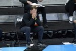 Minnesota head coach Richard Pitino watches during the second half of an NCAA college basketball game against Northwestern at the Big Ten Conference tournament, Wednesday, March 10, 2021, in Indianapolis. (AP Photo/Darron Cummings)