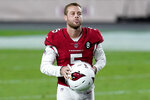 Arizona Cardinals kicker Zane Gonzalez (5) runs off the field after an NFL football game against the Miami Dolphins, Sunday, Nov. 8, 2020, in Glendale, Ariz. Gonzalez missed a game-tying field goal attempt as the Dolphins defeated the Cardinals 34-31. (AP Photo/Ross D. Franklin)