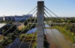 This Aug. 28, 2019 photo, shows the Franklin County bridge in Columbus, Ohio. Inspectors check bridges to prevent any potential problems. (Kyle Robertson/Dispatch]/The Columbus Dispatch via AP)