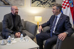 President of the European Council Charles Michel, left, talks to Croatia's prime minister Andrej Plenkovic in Zagreb, Croatia, Thursday, Jan. 9, 2020. Croatia took over the presidency of the Council of the European Union on Jan. 1, 2020 from Finland, six and a half years after entering the European bloc. (AP Photo/Darko Bandic)