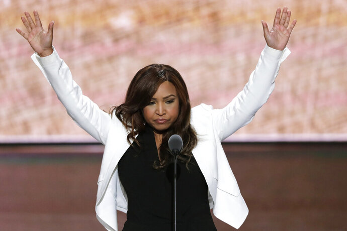 FILE - In this July 20, 2016 file photo, Lynne Patton of the Eric Trump Foundation waves during her speech at the Republican National Convention in Cleveland. The top federal housing official in New York, Patton is getting an up-close look at the city's troubled public housing developments. Starting on Monday, Feb. 11, 2019, she is spending the next four weeks living in four different New York City public housing buildings. (AP Photo/J. Scott Applewhite, File)