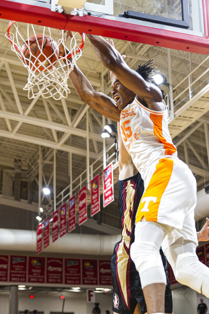 Tennessee guard Yves Pons (35) dunks in the first half of an NCAA college basketball game against Florida State at the Emerald Coast Classic in Niceville, Fla., Friday, Nov. 29, 2019. (AP Photo/Mark Wallheiser)