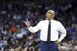 Central Florida head coach Johnny Dawkins communicates with players during the second half of a second-round game  against Duke in the NCAA men's college basketball tournament Sunday, March 24, 2019, in Columbia, S.C. (AP Photo/Sean Rayford)