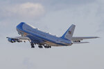Air Force One with President Donald Trump and the first family on board, departs Andrews Air Force Base, Md., Wednesday, Jan. 20, 2021.(AP Photo/Luis M. Alvarez)