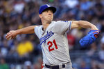 Los Angeles Dodgers starting pitcher Walker Buehler delivers during the first inning of the team's baseball game against the Pittsburgh Pirates in Pittsburgh, Friday, May 24, 2019. (AP Photo/Gene J. Puskar)