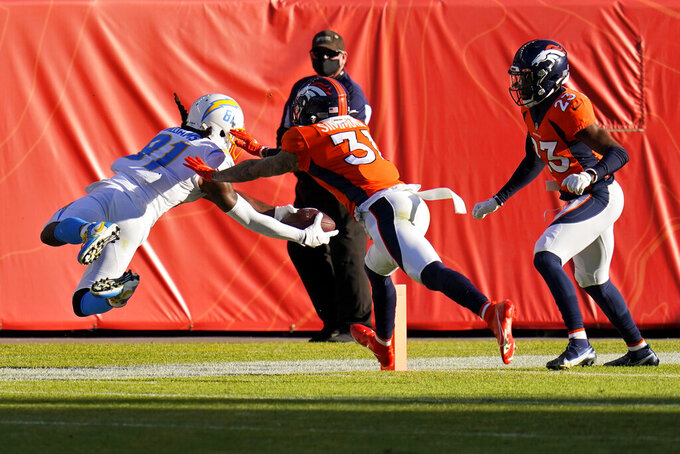 Los Angeles Chargers wide receiver Mike Williams is stopped short of the goal line by Denver Broncos free safety Justin Simmons (31) during the first half of an NFL football game, Sunday, Nov. 1, 2020, in Denver. (AP Photo/Jack Dempsey)