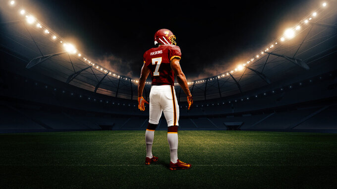 This artist's rendering provided by the Washington Football team shows the back of the NFL football team's new burgundy uniform. (Washington Football via AP)