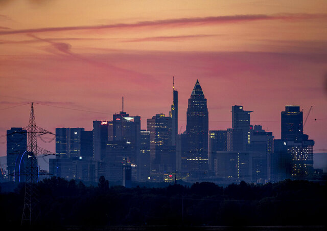 The buildings of the banking district are seen in Frankfurt, Germany, Thursday, July 30, 2020. The Federal Statistical Office will release 2nd-quarter German GDP (gross domestic product) figures on Thursday. (AP Photo/Michael Probst)