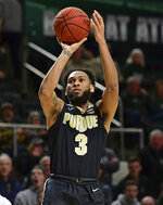 Purdue's Jahaad Proctor shoots during the first half of an NCAA college basketball game against Ohio, Tuesday, Dec. 17, 2019, in Athens, Ohio. (AP Photo/David Dermer)