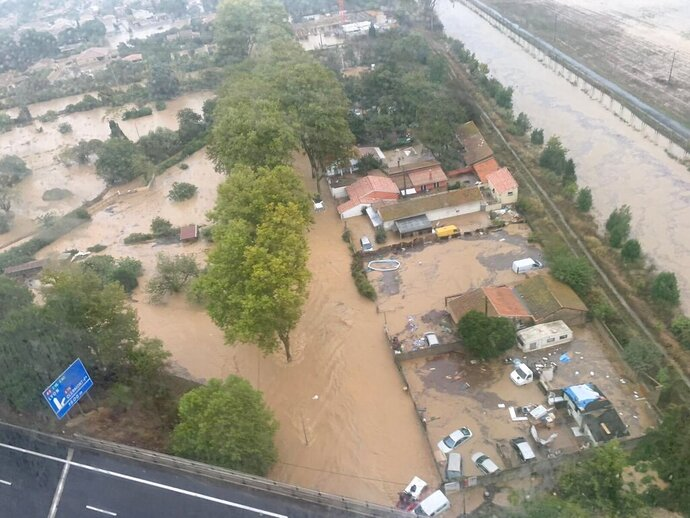 This Oct. 23, 2019 image made by Twitter user @SDIS34 shows a flooded area in the southern France. France's Interior ministry says three people have been killed in torrential rains that flooded towns and villages in southern France this week. (@SDIS34 via AP)
