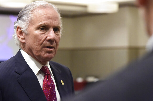 South Carolina Gov. Henry McMaster speaks with reporters after the first meeting of accelerateSC, his advisory group about reopening the state economy, on Thursday, April 23, 2020, in Columbia, S.C. (AP Photo/Meg Kinnard)