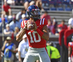Mississippi quarterback Jordan Ta'amu (10) looks to pass during the first half of an NCAA college football game against Louisiana Monroe in Oxford, Miss., Saturday, Oct. 6, 2018. (AP Photo/Thomas Graning)