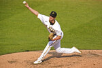 Pittsburgh Pirates starting pitcher Blake Cederlind delivers during the bottom of the ninth inning of a baseball game against the Chicago Cubs in Pittsburgh, Thursday, Sept. 24, 2020. The Pirates won 7-0. (AP Photo/Gene J. Puskar)