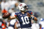 Auburn quarterback Bo Nix (10) throws a pass against Kentucky during the second quarter of an NCAA college football game on Saturday, Sept. 26, 2020 in Auburn, Ala. (AP Photo/Butch Dill)