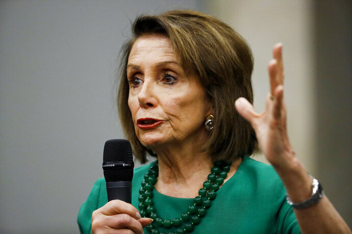 Speaker of the House Nancy Pelosi, D-Calif., speaks during a panel discussion at Delaware County Community College, Friday, May 24, 2019, in Media, Pa. (AP Photo/Matt Slocum)