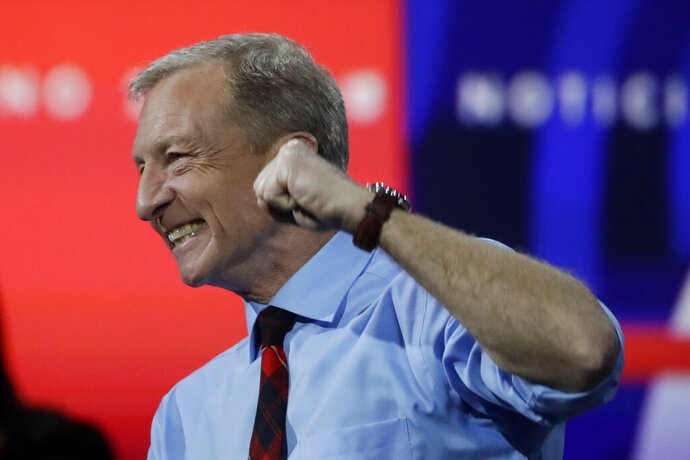 Democratic presidential candidate businessman Tom Steyer speaks during a presidential forum at the California Democratic Party's convention Saturday, Nov. 16, 2019, in Long Beach, Calif. (AP Photo/Chris Carlson)