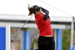 Ariya Jutanugarn, of Thailand, hits from the 18th tee during the first round of the LPGA Walmart NW Arkansas Championship golf tournament, Friday, Sept. 24, 2021, in Rogers, Ark. (AP Photo/Michael Woods)