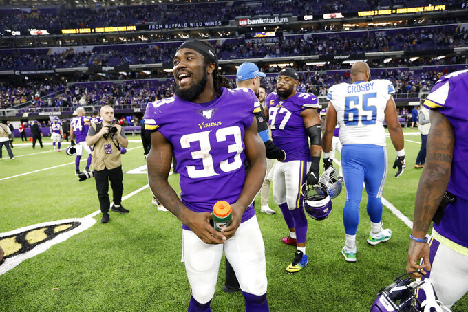 Minnesota Vikings running back Dalvin Cook (33) walks off the field after an NFL football game against the Detroit Lions, Sunday, Dec. 8, 2019, in Minneapolis. The Vikings won 20-7. (AP Photo/Bruce Kluckhohn)