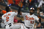 Baltimore Orioles' Hanser Alberto, right, celebrates his solo home run against the Boston Red Sox with Jonathan Villar during the fourth inning of a baseball game Tuesday, May 7, 2019, in Baltimore. (AP Photo/Gail Burton)